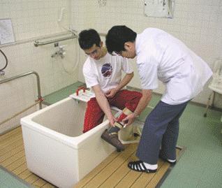 入浴動作の練習